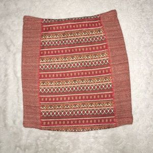 Small Fall Pattern Red Brown Mini Skirt